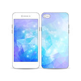 Mobilny smartphone z przykładem ekranu i pokrywy projekt na bielu Abstrakcjonistyczny kolorowy poligonalny Obraz Stock