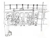 Mobilny społeczeństwo, everybody use smartphone royalty ilustracja