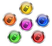 Mobilny telefon komórkowy ikony guzik Zdjęcia Stock
