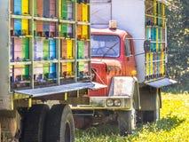 Mobilny ul na ciężarówkach fotografia stock