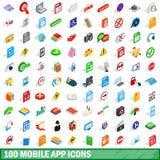 100 mobilnych app ikon ustawiających, isometric 3d styl Obrazy Royalty Free