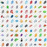 100 mobilnych app ikon ustawiających, isometric 3d styl Zdjęcie Royalty Free