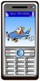 Mobilphone mit Weihnachtsmann Stockbild
