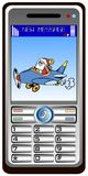 Mobilphone with santa claus Stock Image