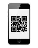 MobilSmart telefon med QR-kod som isoleras på vit bakgrund royaltyfri illustrationer