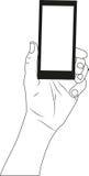 Mobilsvarttelefon i handen som isoleras på vit Royaltyfri Bild