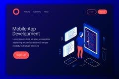 Mobilt app-utvecklingsbegrepp Arkivfoto