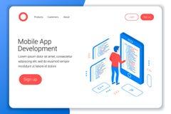 Mobilt app-utvecklingsbegrepp vektor illustrationer