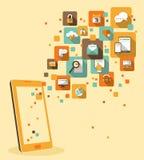 Mobilt app-utvecklingsbegrepp Arkivbild