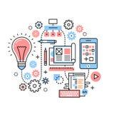 Mobilt app-utvecklingsprocessbegrepp stock illustrationer
