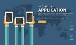 Mobilt applikationbegrepp Händer med telefoner Plan vektorillustration royaltyfri illustrationer