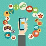 Mobilt applikationbegrepp Plan designvektorillustration Arkivfoton