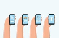 Mobilt appsbegrepp - social nätverkande, online-affär, kommunikation stock illustrationer