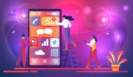 Mobilt Apputvecklingsbegrepp med det mycket lilla teckenet vektor illustrationer