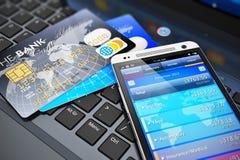 Mobilt bankrörelse- och finansbegrepp Royaltyfri Bild