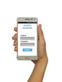 Mobilt bankrörelsebegrepp som isoleras på vit bakgrund Royaltyfria Bilder