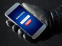 Mobilt bankrörelsehacka- och cybersäkerhetsbegrepp royaltyfri fotografi