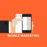 Mobilt begrepp för lägenhet för marknadsföringsstrategi Arkivfoton