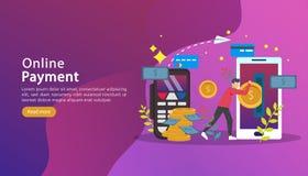mobilt betalning- eller pengaröverföringsbegrepp E-kommers marknad som shoppar online-illustrationen med det mycket lilla folktec vektor illustrationer