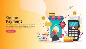 mobilt betalning- eller pengar?verf?ringsbegrepp E-kommers marknad som shoppar online-illustrationen med det mycket lilla folktec vektor illustrationer