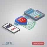 Mobilt betalningbegrepp med ett symbol av kreditering vektor illustrationer