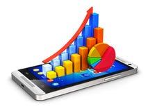 Mobilt finans- och analyticsbegrepp Fotografering för Bildbyråer