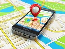 Mobilt GPS navigeringbegrepp Smartphone på översikten av staden, Arkivbild