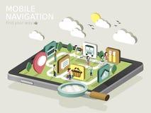 Mobilt isometriskt infographic för navigeringlägenhet 3d Arkivfoton