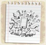 Mobilt klotter för smart telefon på den pappers- anmärkningen, vektorillustration royaltyfri illustrationer