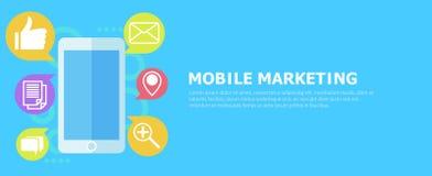 Mobilt marknadsföringsbaner Telefon med symbolspost vektor illustrationer