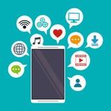 Mobilt massmedia för samkväm för applikationbubblaanförande stock illustrationer