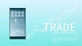 Mobilt online-handeladvertizingbaner stock illustrationer