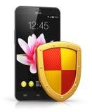 Mobilt säkerhets- och dataskyddsbegrepp Royaltyfri Fotografi