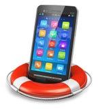 Mobilt säkerhets- och nödlägeservicebegrepp Arkivfoton
