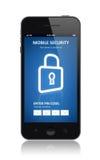 Mobilt säkerhetsbegrepp Arkivfoto