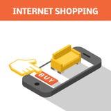 Mobilt shoppingbegrepp Stock Illustrationer