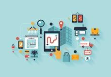 Mobilt shoppingillustrationbegrepp Fotografering för Bildbyråer