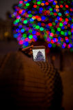 mobilt telefonfoto för cell som tar kvinnan Arkivfoto