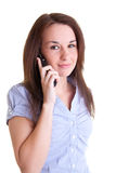 mobilt telefonkvinnabarn Arkivfoton