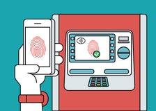 Mobilt tillträde till ATM via smartphonen genom att använda fingeravtryckID Arkivfoto