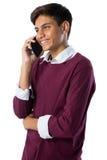 mobilt tonårs- telefonsamtal för pojke Royaltyfri Foto