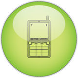 Mobiltelefon auf grüner Taste Stockfotos