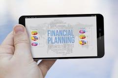 Mobiltelefon för finansiell planläggning Royaltyfri Fotografi