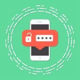 Mobiltelefon låst upp meddelandeknapp- och för lösenordfält vektor, begrepp av smartphonesäkerhet, personligt tillträde, användar Arkivfoto