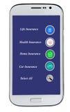 Mobiltelefon med alternativ för försäkring Royaltyfri Fotografi
