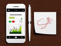 Mobiltelefon med börsskärmen, pennan och försäljningsanmärkningen Royaltyfria Bilder