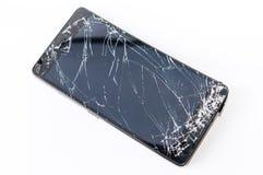 Mobiltelefon med den brutna skärmen Royaltyfri Fotografi