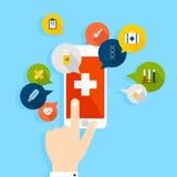 Mobiltelefon med den vård- applikationen som är öppen med handen Vektorfunktionsläge Fotografering för Bildbyråer