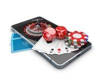 Mobiltelefon med det roulett-, lekkortet, tärning och chiper, online-kasinobegrepp illustration 3d Royaltyfri Bild