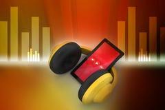 Mobiltelefon med hörlurar Arkivfoto